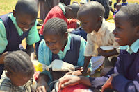 African children receiving gifts