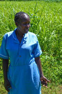Sara in the field near her home.